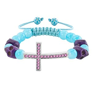 Pugster Amethyst Purple Crystal Cross Skull And Light Blue Beads Adjustable Bead Bracelet