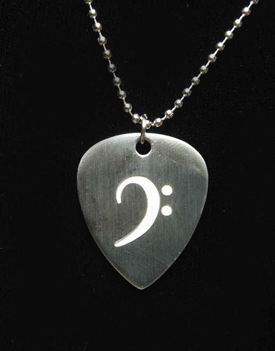 Music Treasures Co. Bass Clef Design Guitar Pick Necklace