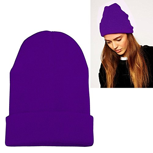 Zodaca Skull Cap Unisex Knitted Beanie Hat, Purple (Ski Company Stickers compare prices)