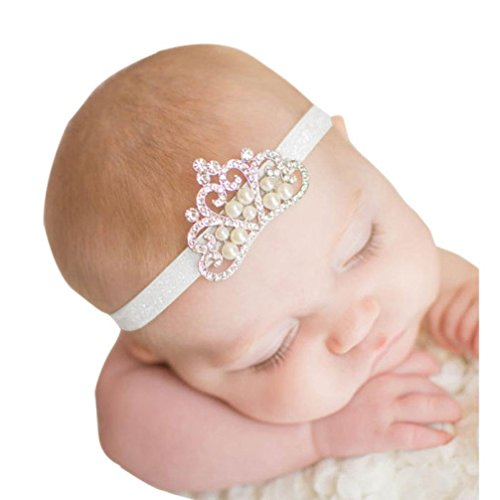 AMA(TM) Baby Girls Princess Crown Head band Crystal Pearl Hairbans Hair Ring