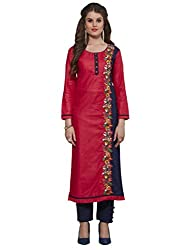 Kvsfab Pink and Blue Cotton Readymade Embroiederd Kurti