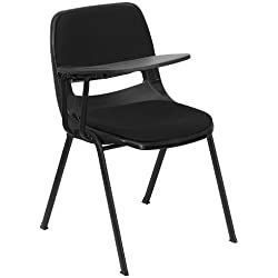 Padded Black Ergonomic Shell Chair with Right Handed Flip-Up Tablet Arm [RUT-EO1-01-PAD-RTAB-GG] by Unknown