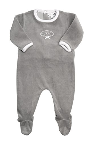 Cream Bebe Newborn Baby Oval Design Footed Romper, One-piece Footie (6-9 Months, Grey)