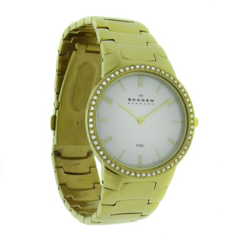 Skagen 644LGGX Ladies White MOP Dial Gold Link Bracelet Watch
