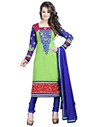 Lookslady Brand Women's Clothing Georgette Green Semi Stitch Salwar qameez Dupatta Suit | Quality Checked | Genuine Product | Not a ready made dress
