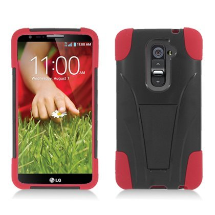 Eagle Cell LG Optimus G2 (All Carriers) Hybrid Case Y with Kickstand - Retail Packaging - Black/Red