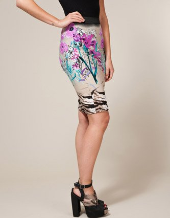 Miso Floral Mix Tube Skirt - Light grey - Womens