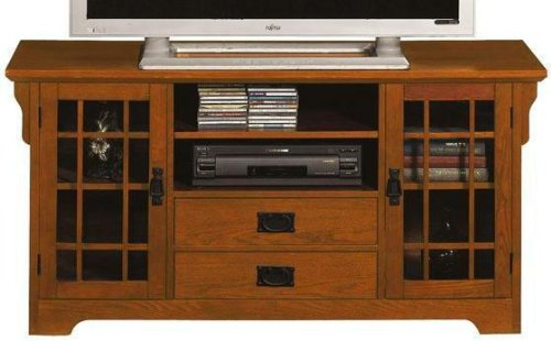 Cheap Craftsman 2 door Wide screen Tv Stand With Glass Doors (B001Y272OK)