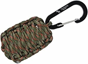 "The Friendly Swede (TM) Carabiner ""Grenade"" Survival Kit Pull with Tin Foil, Tinder, Fire Starter, Fishing Lines, Fishing Hooks, Weights, Swivels, Dobber, Knife Blade Wrapped in 500 lb Paracord in Retail Packaging (Army Green Camo) -Lifetime Warranty"