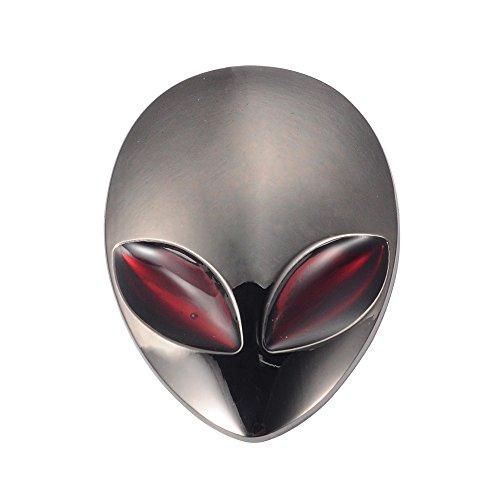 AUMO-mate 3D Autocollant Emblème adhésif métal Aliens Crâne Logo Chromé Badge Décor pour Voiture Auto Moto Camion- Noir