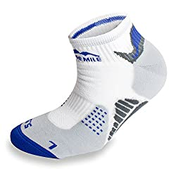 3 Pairs More Mile San Diego Sports Running Ankle Socks , L, White/Blue