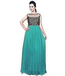 Clickedia Women & Girls Beautiful Rama & Black Semi Stitched Net Gown