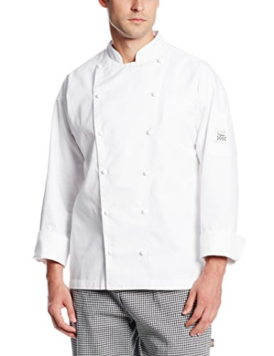 San Jamar J023 Chef-Tex Poly Cotton Classic Long Sleeve Chef Jacket With Pocket And Push Through Button, 3X-Large, White