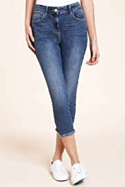 Denim 5 Pockets Cropped Jeggings [T54-8080-S]