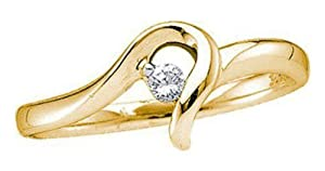 Pricegems 14K Yellow Gold Ladies Round Brilliant Diamond Ring (0.05 cttw, I-J Color, I1/I2 Clarity, Ring Size: 5.5)