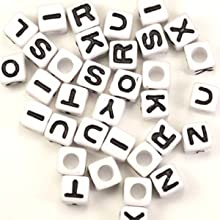 Plastic White Cube Alphabet Beads 7mm 95 grams about 350 beads