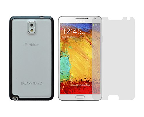 Ishoppingdeals - Black/Matte Snap On Bumper Cover Skin Case And Clear Screen Protector For Samsung Galaxy Note 3 Sm-N900