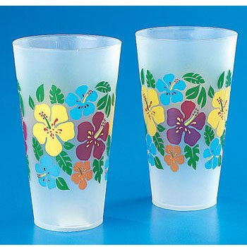Frosted Plastic Bright Hibiscus Print Tumbler (1 ct)
