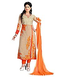 Gold & Orange Georgette Embroidered Unstitched Dress Material