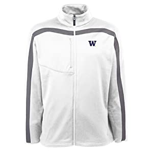 Washington Huskies Jacket - NCAA Antigua Mens Viper Performance Jacket White by Antigua