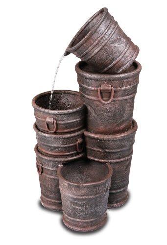 Fontaine Seaux Empilés avec Cache-Pot et Éclairage Halogène