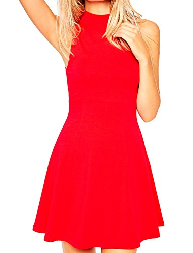 Face N Face Women's Chiffon High Neck Sleeveless Empire Mini Dress Medium Red