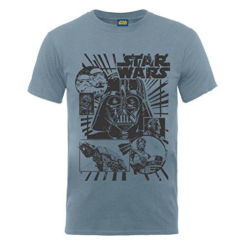 Star Wars - T-shirt, Uomo, Steel Blue, XL