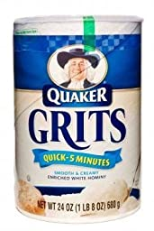 Quaker, Quick Enriched White Hominy Grits, 5 Minute Recipe, 24oz Container (Pack of 3)