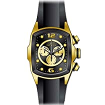 Invicta Mens Lupah Revolution Chronograph Gold Tone Case Black Polyurethane Strap Watch 10067