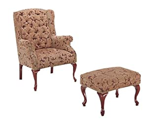 Queen Anne Style Button Tufted Wing Accent Chair with Ottoman