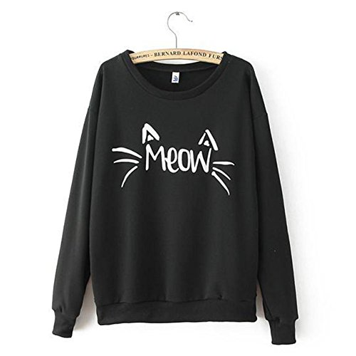 Comemall Teen Girls Long Sleeve MEOW Printed Blouse Sweatshirts Tops