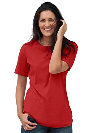 Women's Plus Size Top, Perfect crewneck tee in soft cotton knit (BALI RED,M)