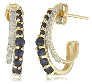 14k Yellow Gold, Blue Sapphire, and Diamond J-Hoop Earrings (0.08 cttw, I-J Color, I1-I2 Clarity)