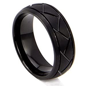 King Will 8mm Black Mens Tungsten Carbide Ring Matte Brushed Finish Groove Design Domed Wedding