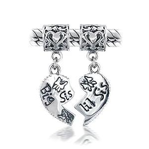 Bling Jewelry Sterling Silver Big Sis Little Sis Heart Dangle Bead Fits Pandora Chamilia Troll Biagi