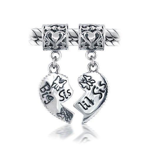 Bling Jewelry Big Sis Little Sis Heart Dangle Bead Fits Pandora Chamilia Troll Biagi