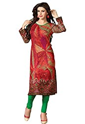 JCM Krishriyaa Red Printed Cotton Cambric Straight Kurti XL size