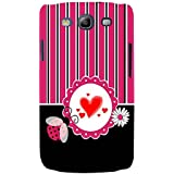For Samsung Galaxy S3 I9300 :: Samsung I9305 Galaxy S III :: Samsung Galaxy S III LTE Red Heart ( Red Heart, White Circle, Black White Pink Line, White Flower, Stripes, Pattern, Flower ) Printed Designer Back Case Cover By FashionCops
