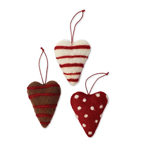 Demdaco Wool Heart Ornaments, Set of 3 Assorted