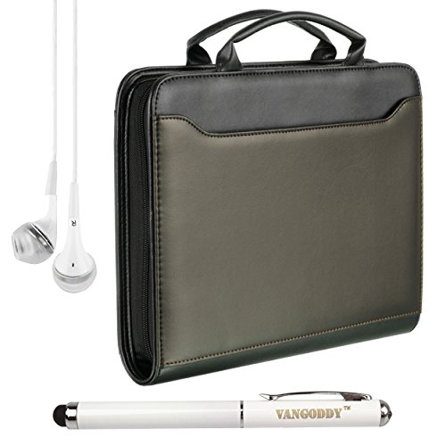 "Executive Briefcase Style Business Bag Case For Nokia Lumia 2520 4G Lte 10.1"" Tablet + Laser Stylus Pen + White Vg Headphones (Black)"