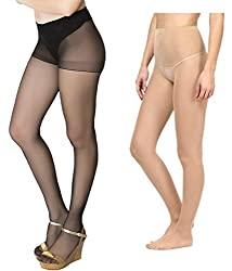 Combo Pack of Best Selling High-Demand Transparent Black & Skin Pantyhose / Stockings (Pack of 2)