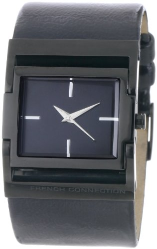 French Connection Women's FC1010B Black Leather Stainless Steel Ion-Plating Black Watch
