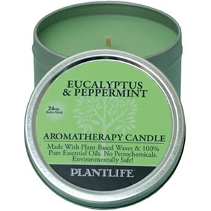 Eucalyptus & Peppermint Aromatherapy Candle- Made with 100% pure essential oils - 3oz tin