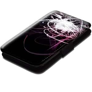 Abstrait 10014, Moderne, Etui Personnalisé Coque Housse Cover Coquille en Cuir Noir avec Dessin Coloré pour Samsung Galaxy S3 i8190 Mini.
