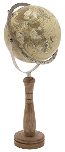 Deco 79 24074 Classic World Globe On Wooden Stand, Small 0