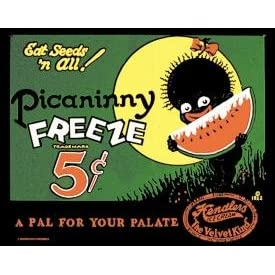 TIN SIGN ~ PICININNY FREEZE ONE NICKEL * NOSTALGIC BLACK AMERICANA