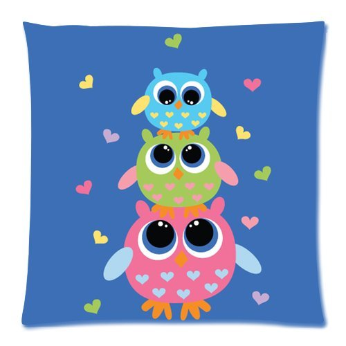 Generic Personalized Colorful Cartoon Baby Cute Owl And Peach Heart For Zippered Throw Pillowcase 18X18 Inches (One Sides) front-559193