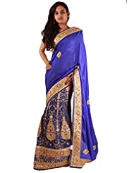 Blue Beige Wedding Designer Patch Embroidery Stone Work Net Lehenga Sari