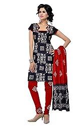 PADMiNi Ethnicwear Women's Dress Material Black Free Size
