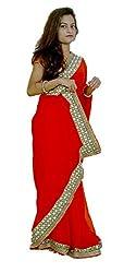 Aradhya Women's Red Georgette Designer Saree with Blouse Piece